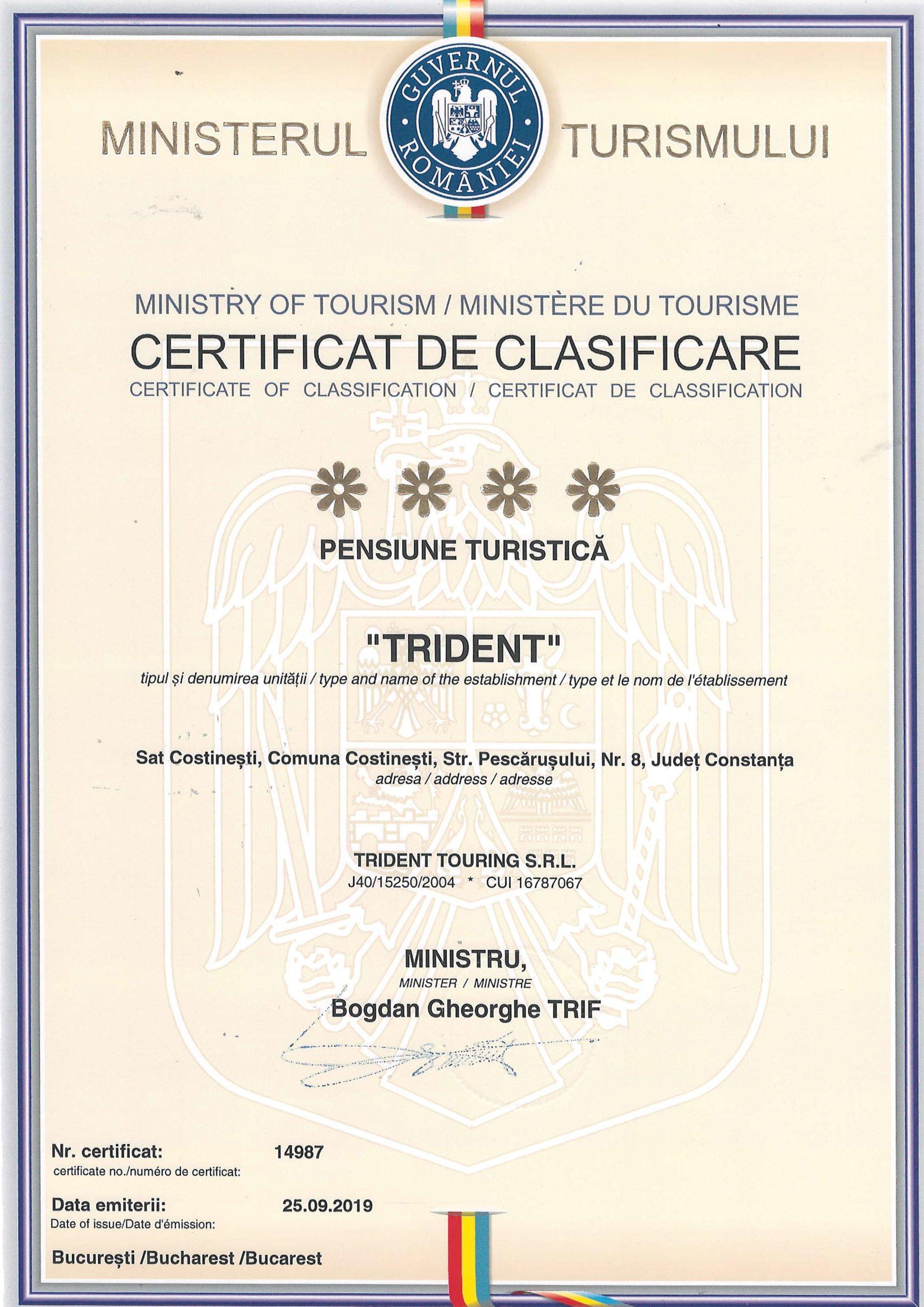 Certificat de Clasificare