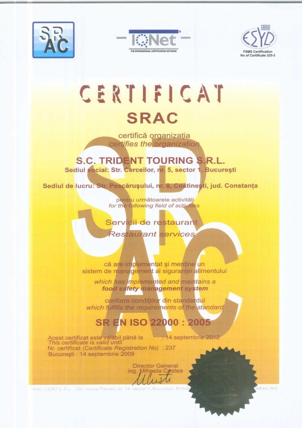 Certificat Calitate ISO 2200