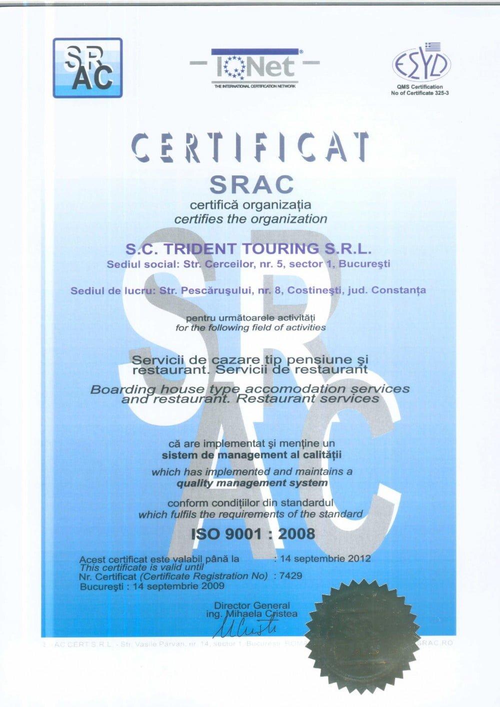 Certificat Calitate ISO 9001